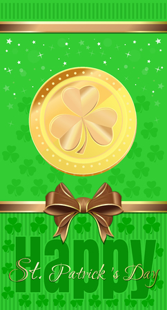 Holiday flyer for St. Patricks Day. Gold coin with the image of clover on a green background. Vector illustration