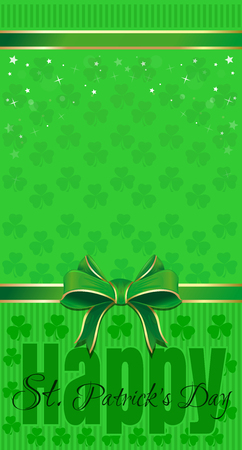 leafed: Green festive background with leafed clover, ribbon and bow. Happy St. Patricks Day. Vector illustration Illustration