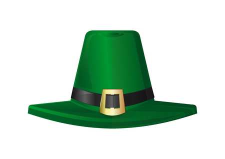 gold buckle: St. Patricks Day hat. Green leprechaun hat. Design element to St. Patricks Day. Realistic vector illustration. Vector icon