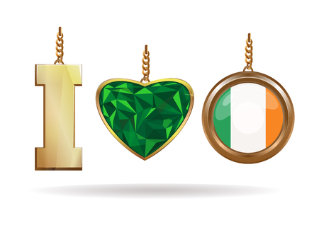 I love Ireland. Patriotic jewelry. Emerald Heart in a gold frame. Gold medallion with the Irish flag inside. Vector illustration