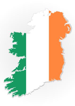 irish landscape: Map of the Republic of Ireland with national flag isolated on white background. Ireland flag overlay on Ireland map. Vector illustration