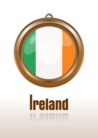 ideograph: Flags of Ireland in the form of circular pendants. Ireland, Eire, Erin, Emerald Isle. Irish flag. Medallion with the flag of Ireland. Vector Irish flag icon. Vector illustration