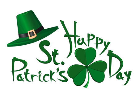 St. Patricks Day vector typographic design elements isolated on white background. Green leprechaun hat, clover leaf and greeting inscription - Happy St. Patricks Day Illustration