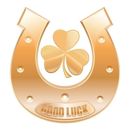 fortunately: Gold horseshoe and gold trefoil clover. Horseshoe fortunately for good luck. Symbols celebrating St. Patricks Day. Horseshoe with inscription - Good luck. Vector icon isolated on white Illustration