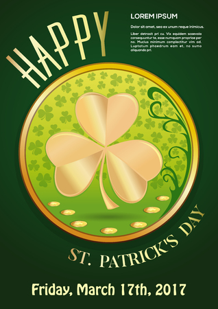March 17. Green invitation poster for St. Patricks Day 2017. Vector illustration