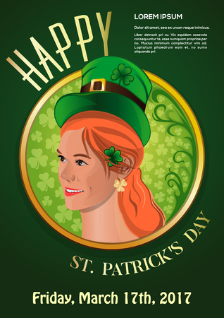 irish woman: St. Patricks Day 2017. March 17. Invitation poster with a cute red-haired girl in a leprechaun hat.