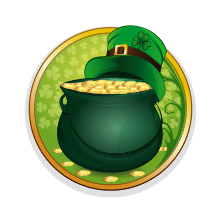 Magic pot of gold and hat leprechaun on a background leaf clover. Celebrating St. Patricks Day symbols. Round sticker isolated on white background for St. Patricks Day. Vector illustration