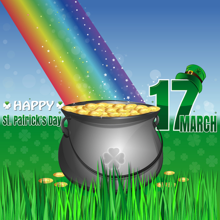 Magic leprechaun pot of gold at the base of the rainbow. Cauldron full of gold coins on the lawn in the green grass. March 17. leprechaun hat. Happy St. Patricks Day. Vector greeting card