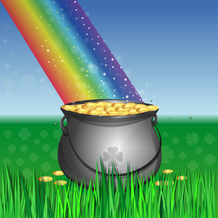 Magic leprechaun pot of gold at the base of the rainbow. Cauldron full of gold coins on the lawn in the green grass. landscape with leprechauns pot of gold and rainbow. Vector greeting card