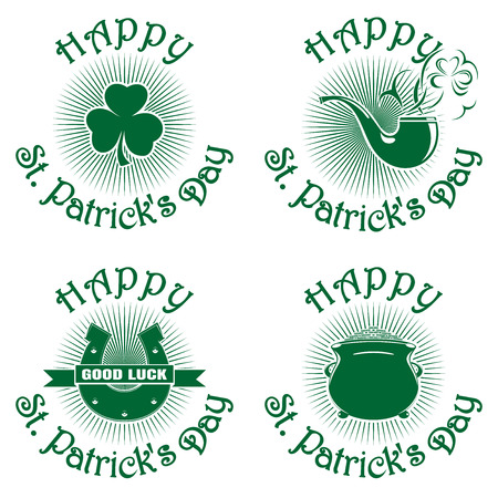 caldron: Symbol celebrating St. Patricks Day. Greeting inscription. Happy St. Patricks Day. Vector green icons isolated on white background. Trefoil, clover, horseshoe, smoking pipe, pot of gold. Set2
