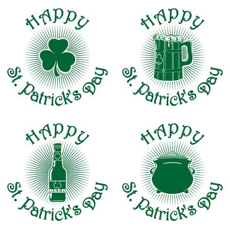 caldron: Symbol celebrating St. Patricks Day. Greeting inscription. Happy St. Patricks Day. Vector green icons isolated on white background. Trefoil, bottle of beer, wooden beer mug, pot of gold. Set3 Illustration