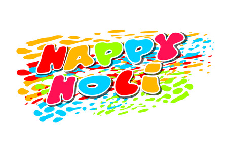 Happy Holi Indian spring festival of colors. Colorful banner with greeting inscription. Vector illustration Illustration
