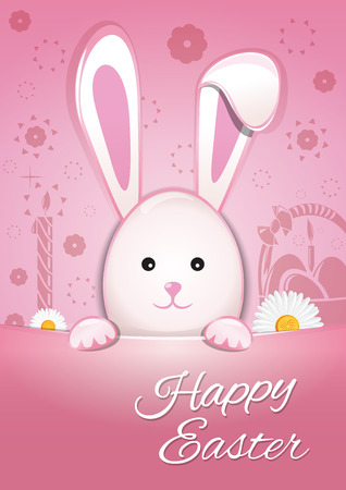 Cute Easter bunny on a pink background. Happy Easter. Symbol of Easter celebrations. Easter Bunny cute cartoon animal flat vector illustration Illustration