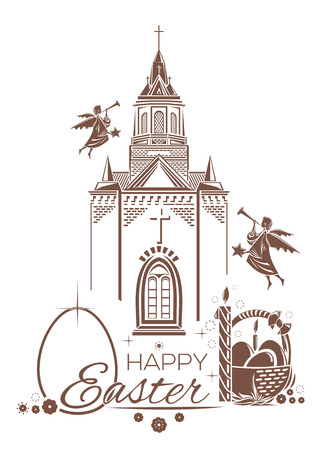 Catholic Church, burning candle, basket of Easter eggs, angels blow trumpets. Greeting card. Happy Easter. Design elements for Easter holiday. Vector illustration Illustration