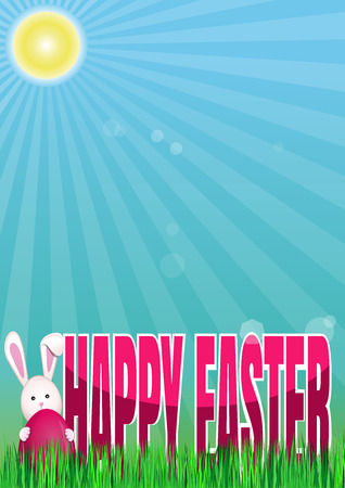 Happy Easter. Spring background. Image with spring green grass, diverging rays of the sun, Easter Bunny, Easter egg and greetings. Spring Easter illustration