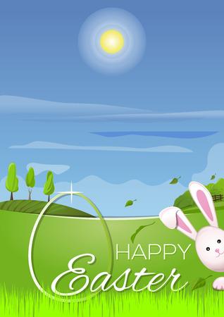 Beau paysage de printemps, mignon lapin de Pâques, oeufs de Pâques dans l'herbe de printemps vert jeune. Carte de voeux. Joyeuses Pâques. Symboles de Pâques. Célébration Vector illustration Vecteurs