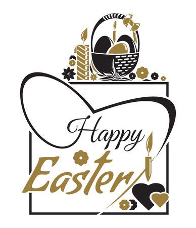Happy Easter. Easter lettering. Typographic design. Vector illustration for Easter greeting card Illustration