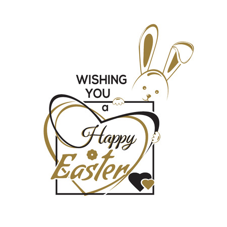 Wishing you a Happy Easter. Greeting inscription with the Easter bunny and Easter eggs. Vector easter art, hand lettering, text. Vector illustration