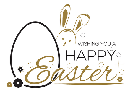 wishing card: Greeting inscription with the Easter bunny and Easter eggs. Wishing You a Happy Easter. Easter holiday handwritten lettering card. Vector illustration Illustration