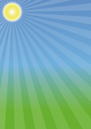 Summer sun burst on a spring blue and green background. Spring colors. Vector illustration