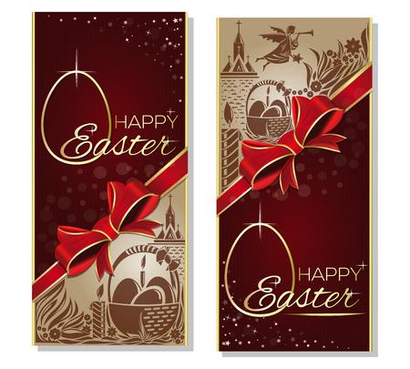 赤いリボン、弓、イースターエッグ、天使と教会のシルエットとバスケットとイースターの休日背景。ハッピー イースター。ギフト カード、イースターのグリーティング カード。ベクター チラシ テンプレート