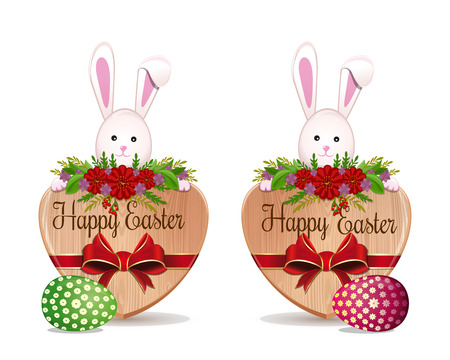 Easter banners set with Easter eggs and a cute Easter bunny. Happy Easter. Vector illustration isolated on white background