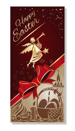 ハッピー イースター。イースターの休日のための飛行の天使とお祭りのチラシ。ベクトル図