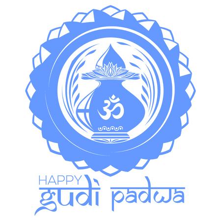 om: Gudi Padwa Hindu New Year. Mandala logo with Kalash and Om or Aum symbol in Devanagari. Vector illustration Illustration