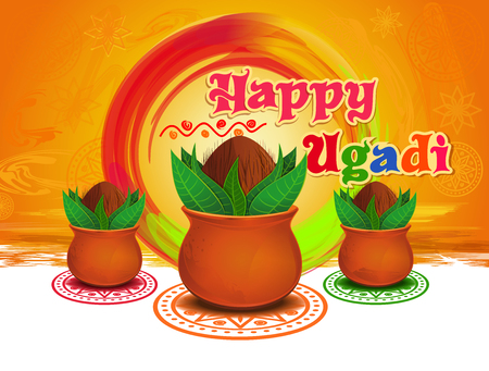 Happy Ugadi and Gudi Padwa. New Years Day for the people of the Deccan region of India. Vector illustration with mandala, rangoli and Kalash on grungy colorful background Illustration