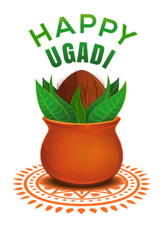 Happy Ugadi. New Years Day for the Kannadigas and Telugus. It takes place on the same day as Gudi Padwa. Vector illustration with clay pot, leaves, coconut isolated on white background