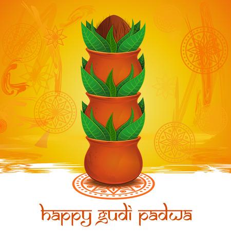 marathi: Happy Gudi Padwa. Gudi Padwa lettering. Vector colorful background with mandala, rangoli, clay pot, green leaves and coconut for Gudi Padwa and Ugadi Illustration