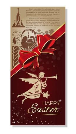 ハッピー イースター。イースターの休日のための飛行の天使とお祝いグリーティング カード。ベクトル図
