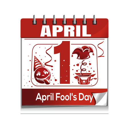 tomfool: Calendar with the date of 1st April. April Fools Day calendar isolated on white background.