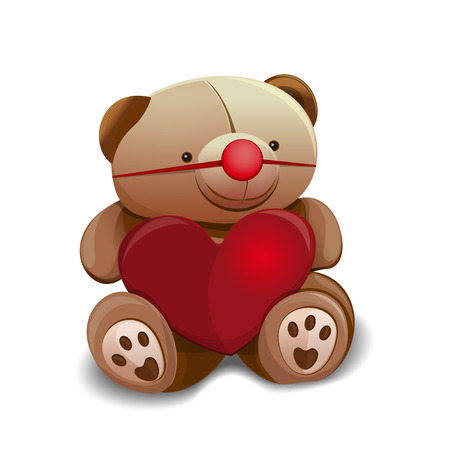 Teddy bear with red rubber clown nose and a big red heart. Vector illustration for celebrating April Fools Day