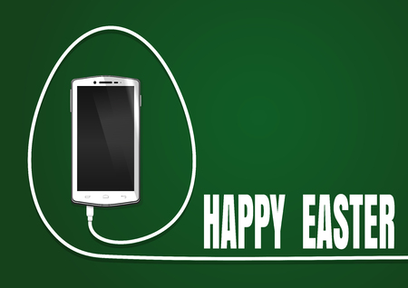 cable telefono: Happy Easter. Easter greeting card. Realistic smartphone, cellphone, mobile phone. Phone wire bent in the shape of a Easter egg. Smartphone isolated on a green background. Vector illustration