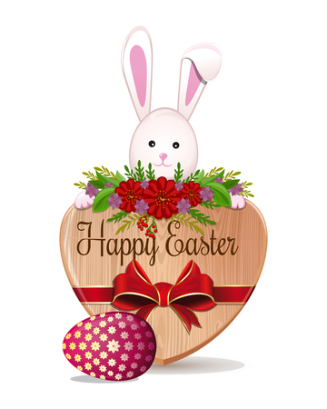Cute Easter Bunny peeks out from behind the boards with inscription - Happy Easter. Bunny, egg - symbols of Easter. Design element for Easter greeting card. Vector illustration