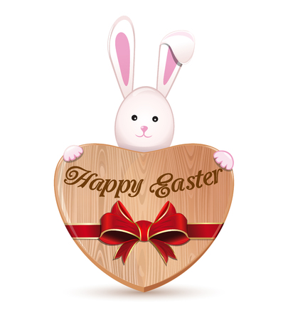 Cute Easter bunny holding a big wooden heart with an inscription - Happy Easter.