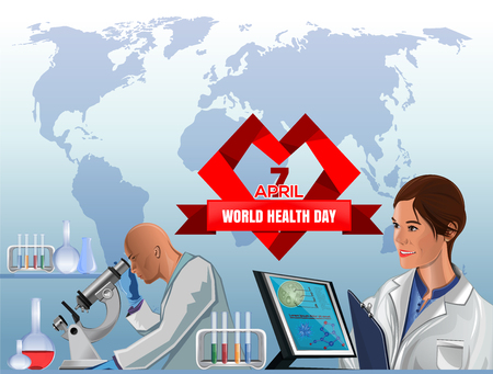 World Health Day poster design. April 7. Big red heart with greeting inscription, beautiful woman medic and health professionals on the background of the world map. Vector concept illustration