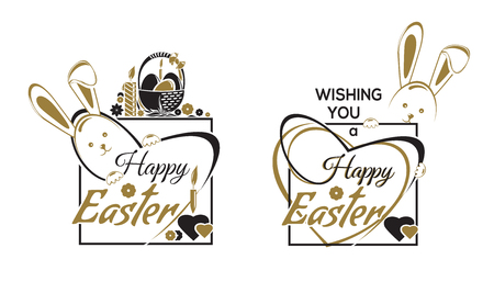 Happy Easter labels lettering set. Greetings text templates with Easter Bunny and eggs Illustration