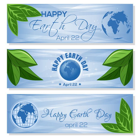 Set light blue banners for Earth Day with globe, green leaves and greeting inscription. Happy Earth Day. April 22. Vector illustration Vektoros illusztráció