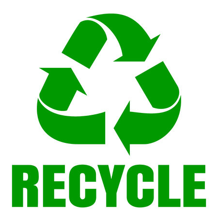 Recycle green simbol. Sign of recycling. Logo icon. Waste recycling. Environmental protection. Vector illustration isolated on white background Illustration