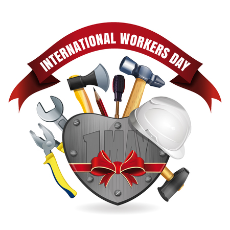 iron: 1 May. Happy International Workers Day. May Day. Greeting card for Labor Day with a set of tools. Vector illustration