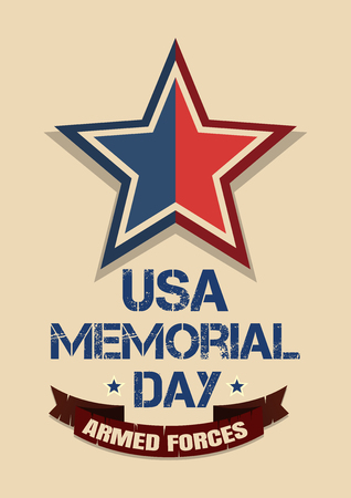 Memorial Day card. Armed Forces. Patriotic United States of America USA background. Vector illustration