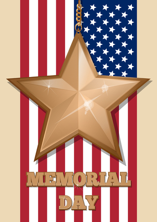 memory card: Inscription - Memorial Day and golden star Illustration