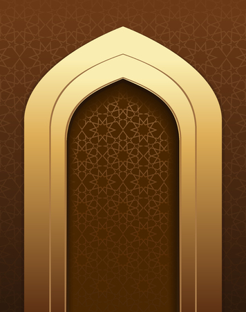 Golden arch on the background of traditional Arabic pattern. Beautiful arabic background for holy month Ramadan. Ramadan greetings. vector background