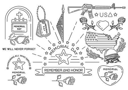 Line icons set for Memorial Day in USA