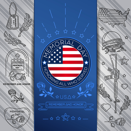 Memorial Day concept design. Remember and honor Illustration