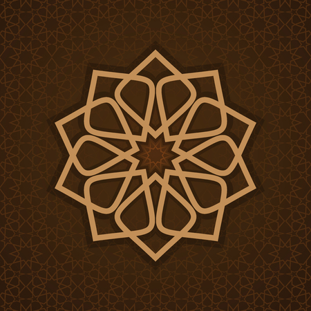 lace pattern: Luxurious Islamic Arabic background pattern template. Round pattern in Arabic style on ornate brown background.