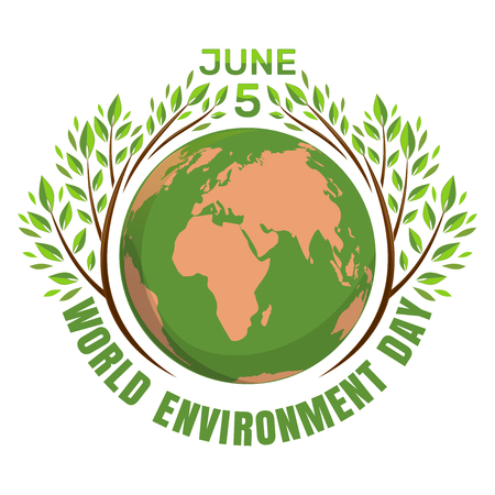 World environment day concept. June 5th Illustration