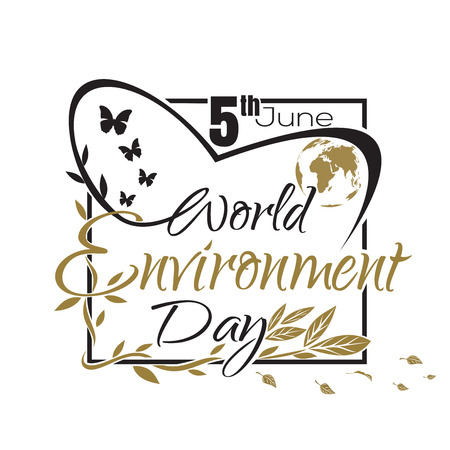 World Environment Day lettering card Illustration